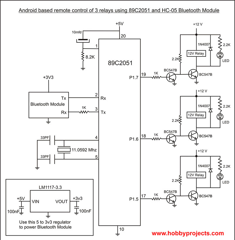 Simple Android Bluetooth Remote Control Project For 3 Relays Using