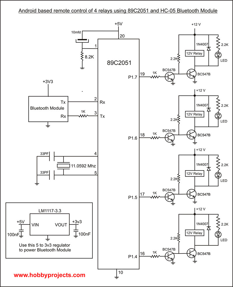 simple android bluetooth remote control project for 2 relays using 89c2051 microcontroller