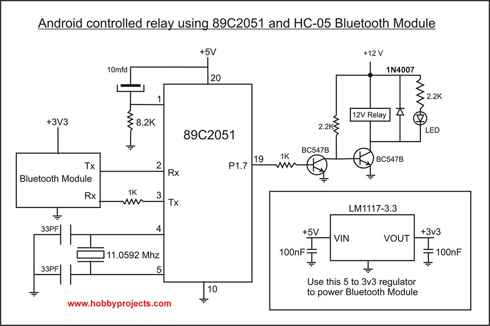 circuit diagram of android controlled relay using 892051 and hc-05  bluetooth module