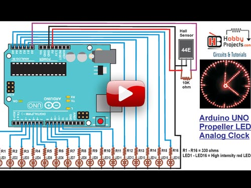 Arduino UNO Propeller LED Analog Clock