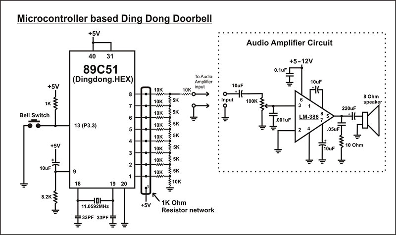 microcontroller based ding dong bell circuit diagram diy practical rh  hobbyprojects com basic electrical schematic diagrams