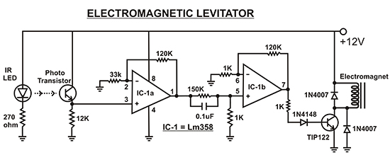 magnetic levitation circuit diagram - electromagnetic levitator
