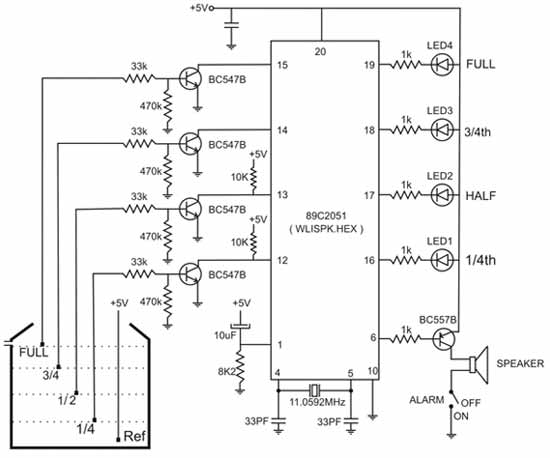 Circuit of 89C2051 Microcontroller Based Water Level Indicator with on