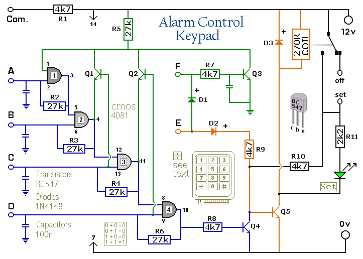 Enhanced 4 Digit Alarm Keypad Circuit Project Diagram