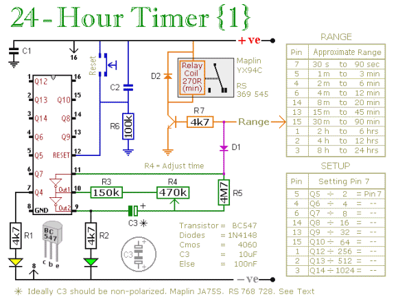 24 hour timer circuit timing timer electronic tutorial, circuits24 hour mk1 circuit diagram